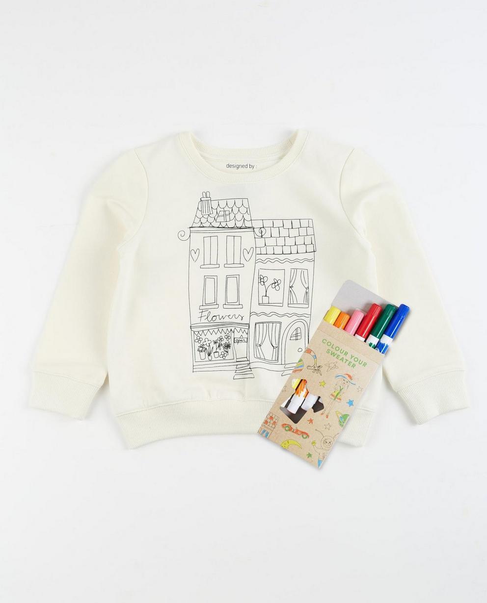 Sweater mit Häuserprint - und Textilstiften - JBC